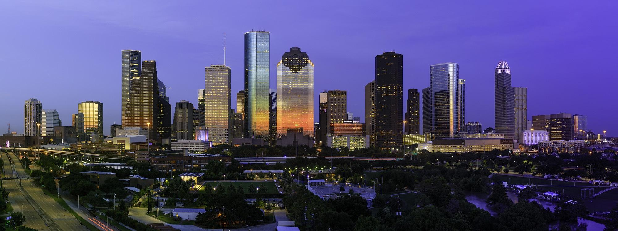 City of Houston Skyline July 4th 2018 with dramatic sunsetv