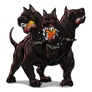 Kerberos was depicted in Greek mythology as the fierce, three-headed dog that guards the gates of Hell.